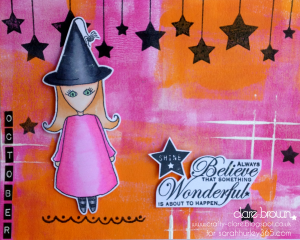srah hurley - clare brown - calendar - doodle doll - witch girl